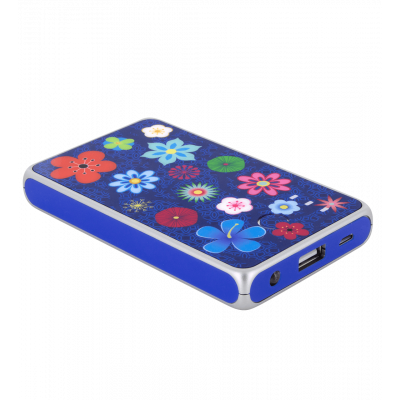 Tragbares Ladegerät 5000mAh - Get The Power 2 Blue Flower