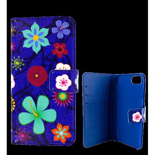 Flap cover/wallet case for iPhone 6 Plus, 7 Plus - Iwallet Blue Flower