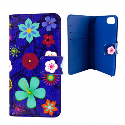 Coque à clapet pour iPhone 6, 6S, 7 - Iwallet 2 Blue Flower