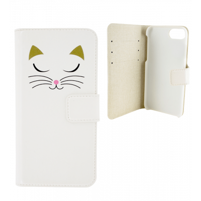 Flap cover/wallet case for iPhone 6, 6S, 7 - Iwallet 2 White Cat