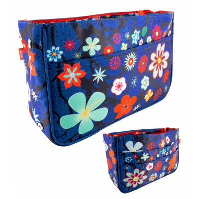 Handtaschen-Organizer - Bag in Bag Blue Flower