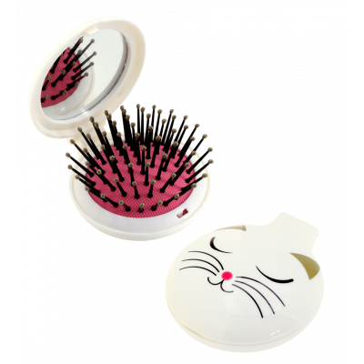 Lady Retro - 2 in 1 hairbrush and mirror White Cat