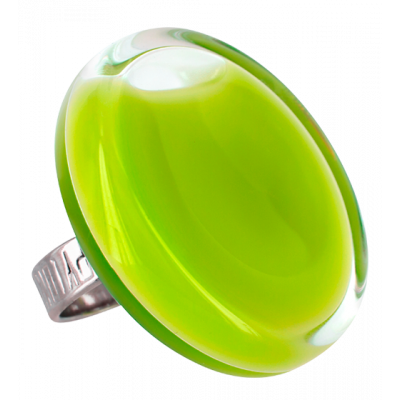 Glass ring - Cachou Giga Milk Light Green