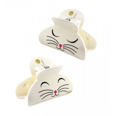 Haarklammer- Ladyclip Small White Cat