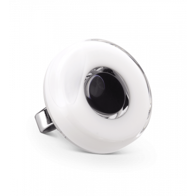 Glass ring - Duo Medium White / black