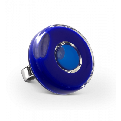 Anello in vetro - Duo Medium Blu scuro
