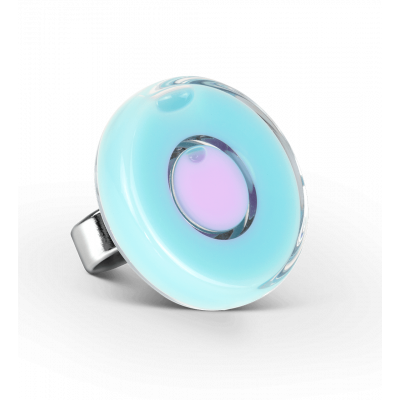 Bague en verre - Duo Medium Bleu lagon