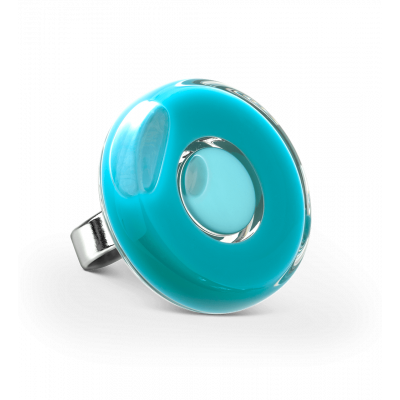 Glass ring - Duo Medium Turquoise