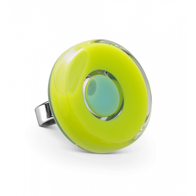 Glass ring - Duo Medium Light Green
