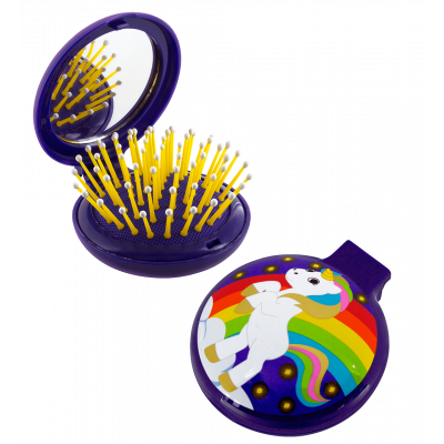 Lady Retro - 2 in 1 hairbrush and mirror Licorne