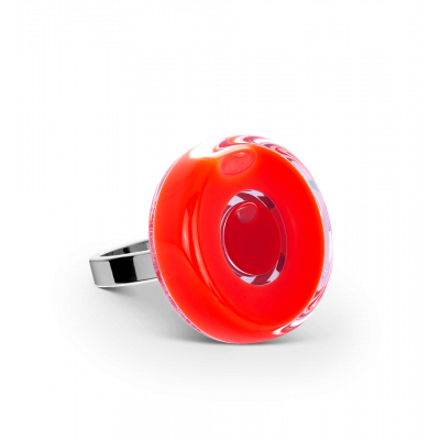 Glass ring - Duo Mini Light red