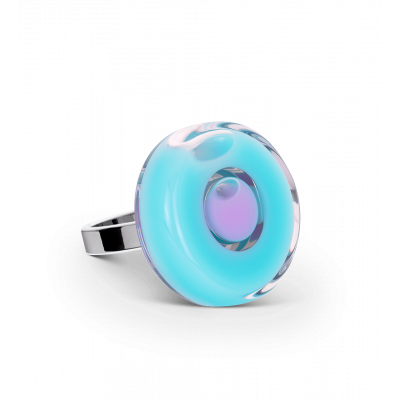 Glass ring - Duo Mini Blue lagoon
