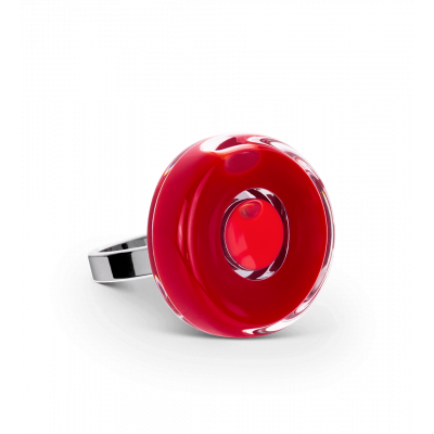 Glass ring - Duo Mini Dark red