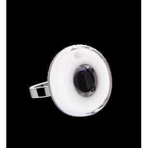 Bague en verre soufflée - Duo Mini Blanc / Noir