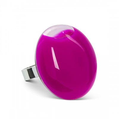 Glass ring - Galet Giga Milk Fuchsia