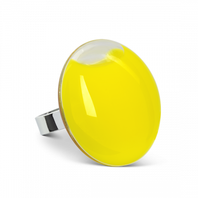 Galet Giga Milk - Glass ring Yellow