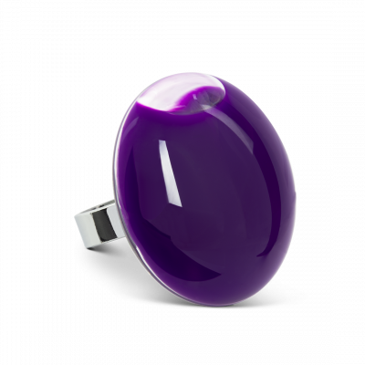 Glass ring - Galet Giga Milk Dark purple