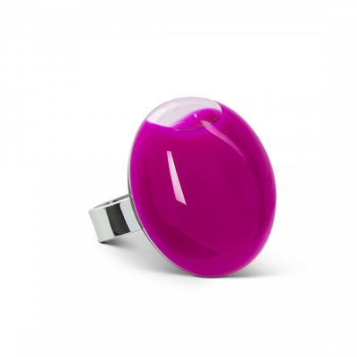 Bague en verre - Galet Medium Milk Fushia