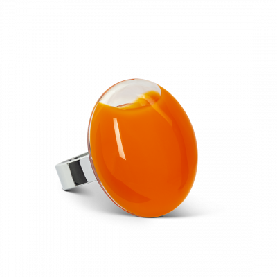 Bague en verre - Galet Medium Milk Orange