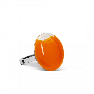 Bague en verre - Galet Mini Milk Orange