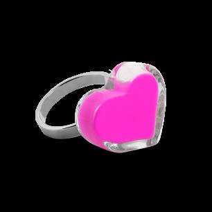 Anello in vetro - Coeur Nano Milk Rosa