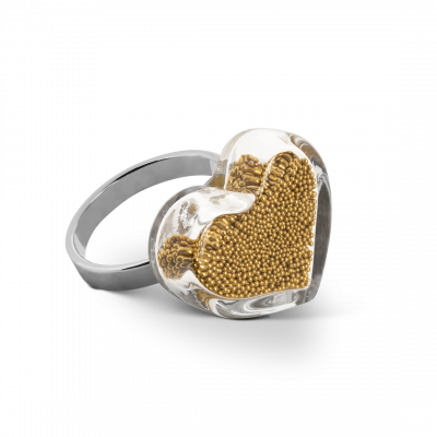 Glasring - Coeur Nano Billes Gold