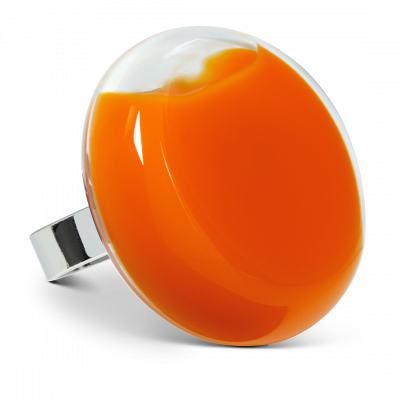 Bague en verre - Platine Giga Milk Orange