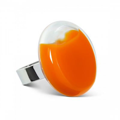 Bague en verre - Platine Medium Milk Orange